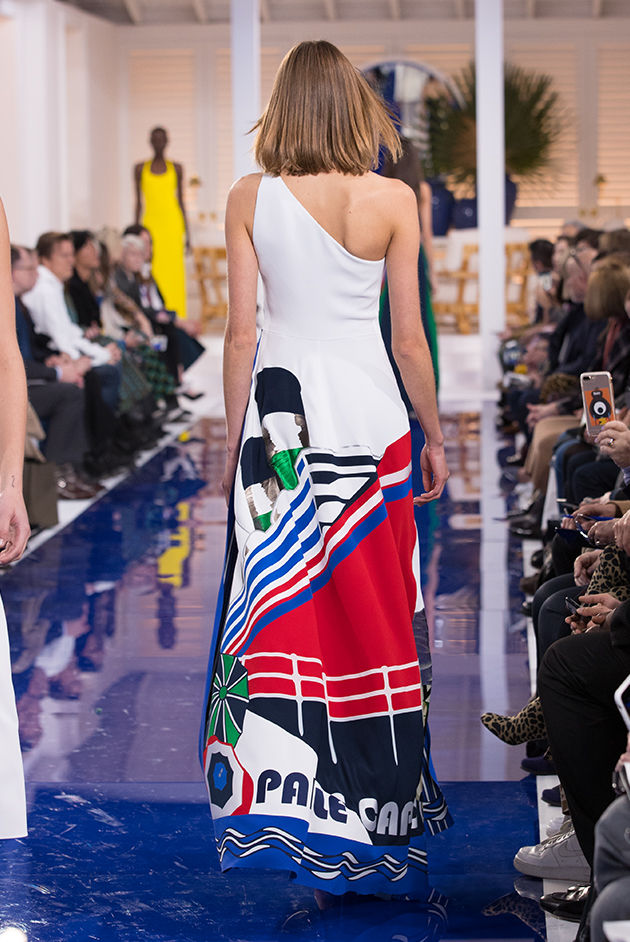 Back view of Model in Look 61 from Ralph Lauren's Spring 2018 Fashion Show
