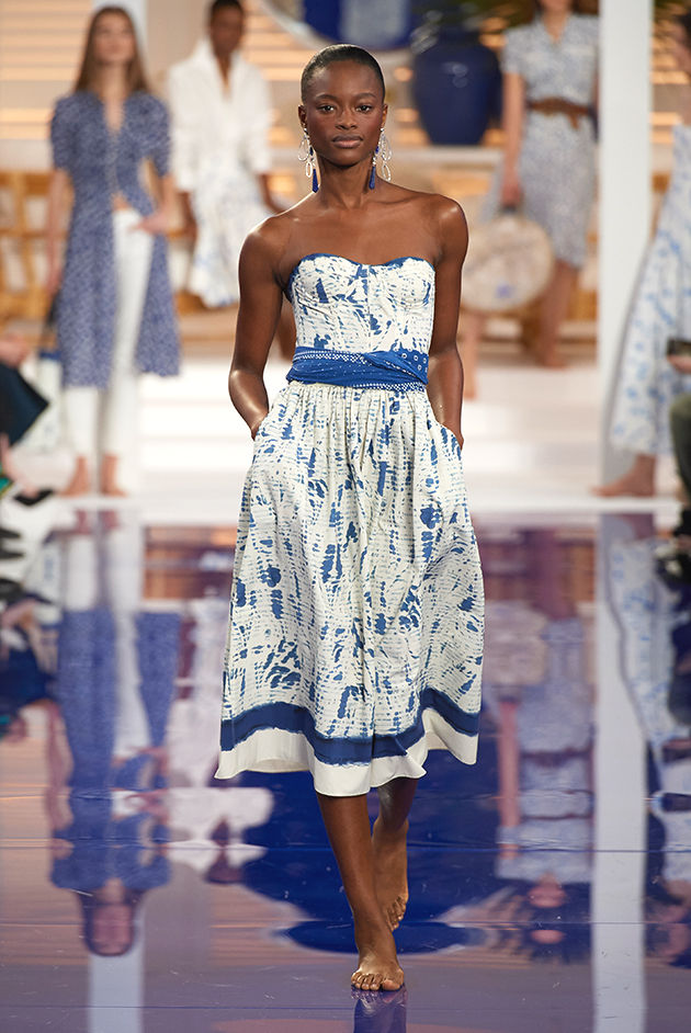 Model in Look 01 from Ralph Lauren's Spring 2018 Fashion Show