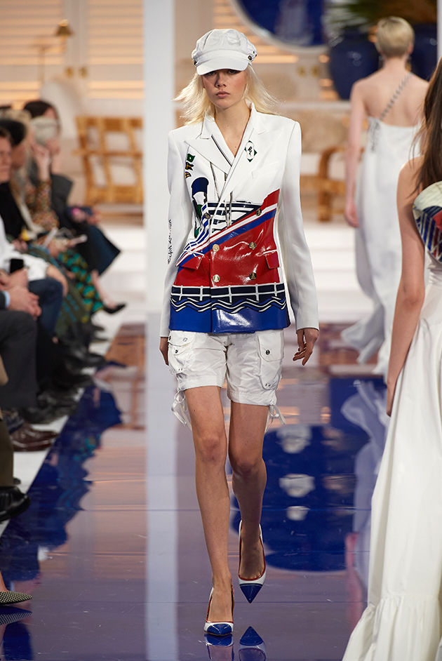 Model in Look 43 from Ralph Lauren's Spring 2018 Fashion Show