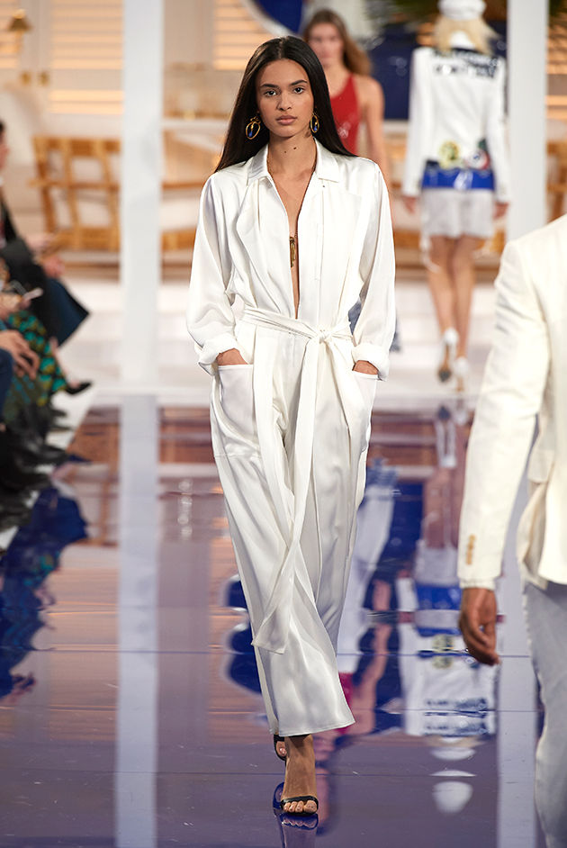 Model in Look 45 from Ralph Lauren's Spring 2018 Fashion Show